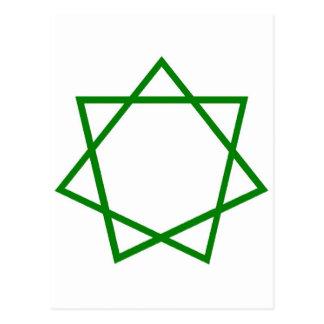 Heptagram verde postales