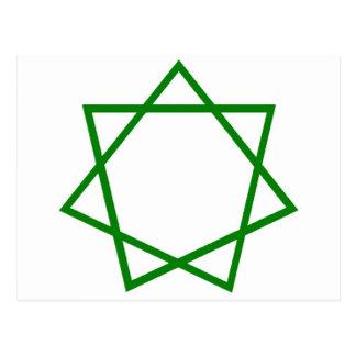Heptagram verde tarjeta postal