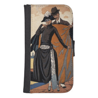 Her and Him, Fashion Illustration, 1921 (pochoir p Galaxy S4 Wallet Case
