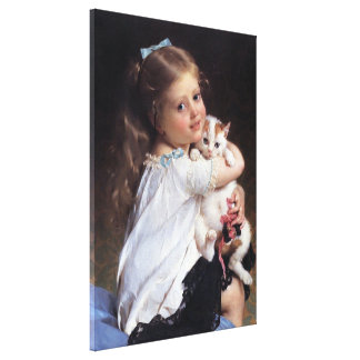 Her Best Friend | Little Girl With Kitten Canvas Print