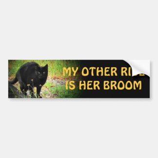 her broom - Arched Black Cat Car Bumper Sticker