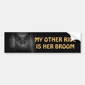 her broom - Black Cat Car Bumper Sticker