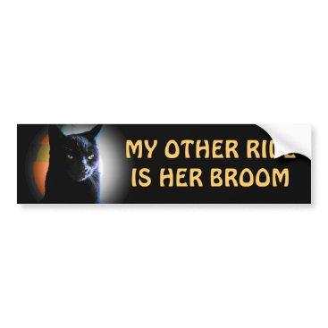 talkingbumpers her broom - Spooky Black Cat Bumper Sticker