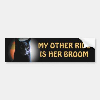 her broom - Spooky Black Cat Car Bumper Sticker