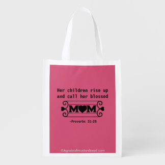 Her children call her blessed Mother's Day Reusable Grocery Bag