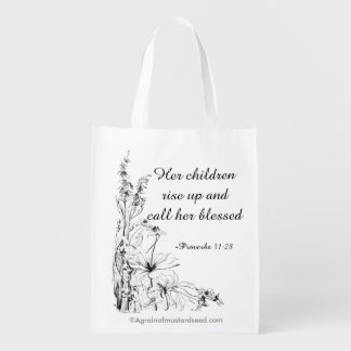 Her children call her blessed Mother's Day Reusable Grocery Bags