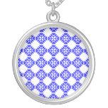 Her Cute Girly Style Blue & White Damask Girls Custom Necklace