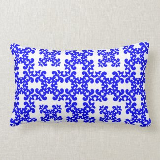Her Cute Girly Style Blue & White Damask Girls Throw Pillows