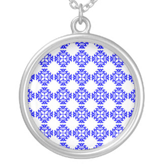 Her Cute Girly Style Blue & White Damask Girls Silver Plated Necklace