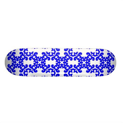 Her Cute Girly Style Blue & White Damask Girls Skate Boards