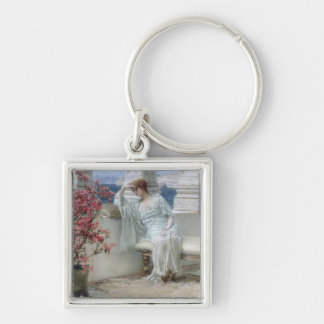 'Her eyes are with her thoughts and they are far a Silver-Colored Square Keychain