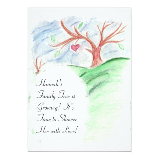 "Her Family Tree is Growing -Baby Shower Invitation 5"" X 7"" Invitation Card"