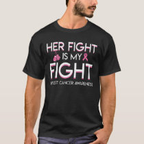 Her Fight My Fight Breast Cancer Boxing T-Shirt
