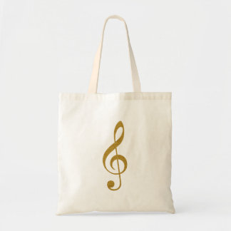 her golden treble clef musical note tote bag
