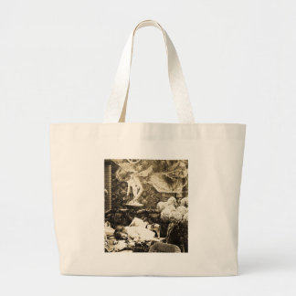 Her Guardian Angel -- Vintage Stereoview Large Tote Bag