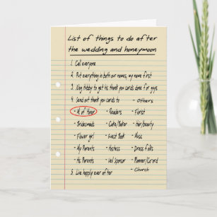 Her List Maid Or Matron Of Honor Funny Thank You Card