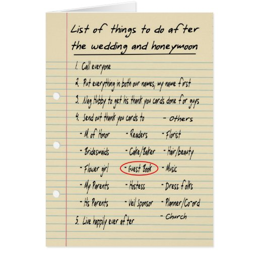 HER LIST - Thanks Guest book attendee - FUNNY Card