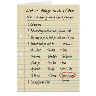 HER LIST - Thanks planner - FUNNY Card