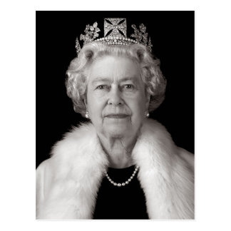 Her Majesty Elizabeth II in Black and White Postcard