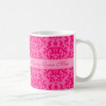 Her Majesty Queen Mom damask royal pink mug