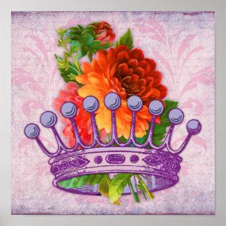 Her Majesty Vintage elements poster floral crown