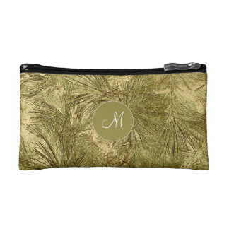 her monogram on vintage look evergreen boughs cosmetic bag