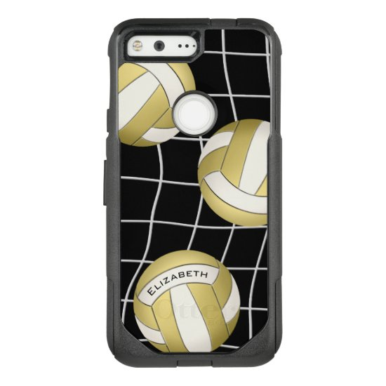 her name gold white women's volleyball OtterBox commuter google pixel case