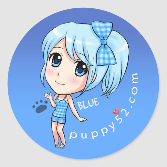 Her name is Blue Classic Round Sticker