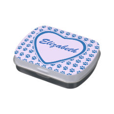 Her Personal Candy Tin w/ Heart and Cat Paws at Zazzle