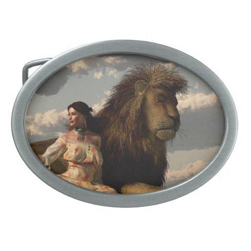 Her Pet Lion Oval Belt Buckles