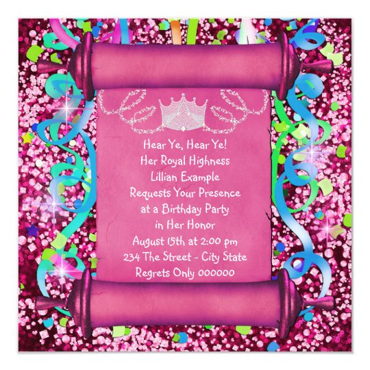 7th birthday gifts on zazzle her royal highness princess birthday party card stopboris Gallery