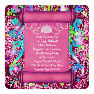 Her Royal Highness Princess Birthday Party 5.25x5.25 Square Paper Invitation Card