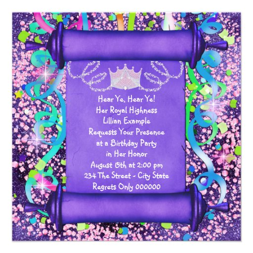 Personalized girls 7th birthday party invitations her royal highness princess birthday party custom invites stopboris Choice Image