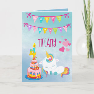 Her Unicorn 4th Birthday Card