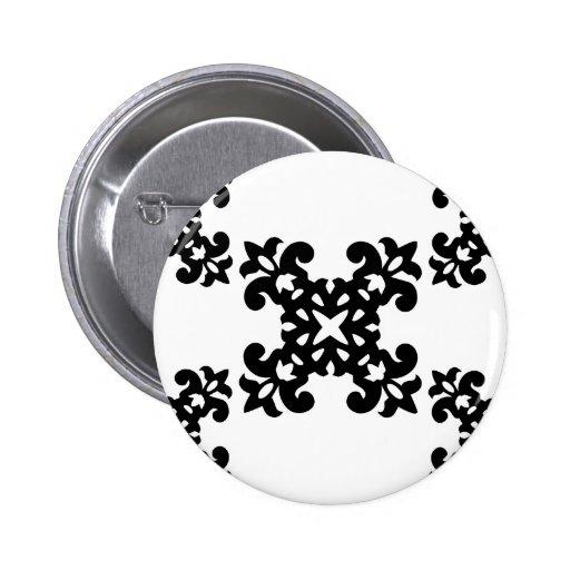 Her Vintage Girly Style Black & White Damask Girls 2 Inch Round Button