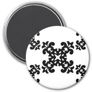 Her Vintage Girly Style Black & White Damask Girls Magnets