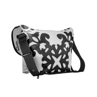 Her Vintage Girly Style Black & White Damask Girls Messenger Bag