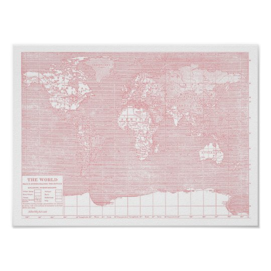 Her World Pink Vintage World Map Poster Zazzlecom - Pink world map poster