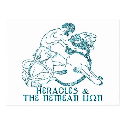 Heracles y el león de Nemean Tarjeta Postal