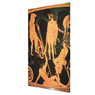 Herakles and Greek heroes detail from an Attic re Stretched Canvas Print