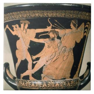 Herakles que lucha, detalle de un ático rojo-figu azulejo cuadrado grande