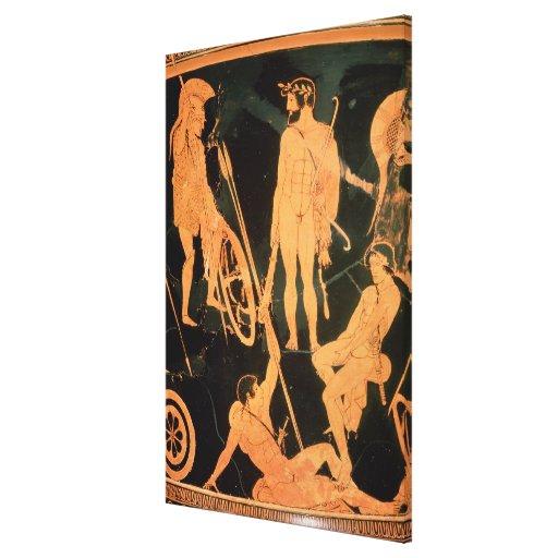 Herakles y héroes griegos, detalle de un ático con lona envuelta para galerias