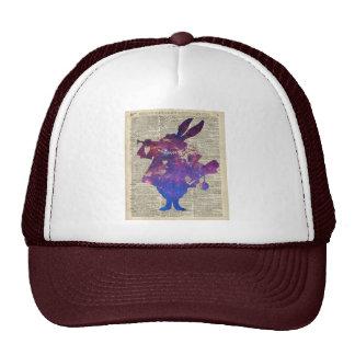 Herald Purple Rabbit Stencil Over Old Book Page Trucker Hat