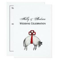 Heraldic Banded Fleece Ram Sheep Crest Emblem Invitation