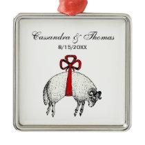 Heraldic Banded Fleece Ram Sheep Crest Emblem Metal Ornament