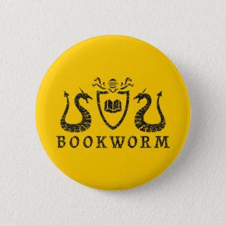 Heraldic Bookworm Button