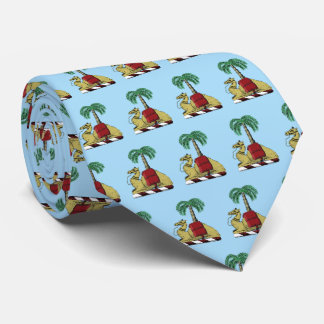 Heraldic Camel Palm Tree Color Coat of Arms Tie