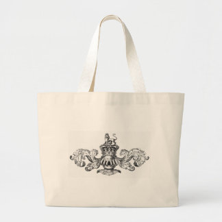 HERALDIC COAT OF ARMS WITH LION VINTAGE PRINT LARGE TOTE BAG