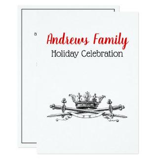 Heraldic Crown Crossed Swords Saber Christmas Xmas Card