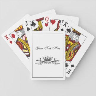 Heraldic Crown Crossed Swords Sabers Emblem Crest Playing Cards